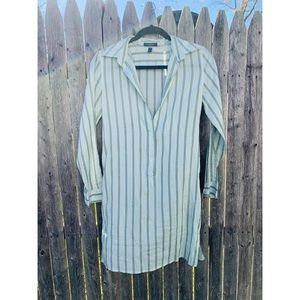 Burberry London Green Striped Button Sheer Dress